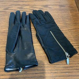 Vintage Les Copains Black Leather Zipper Gloves